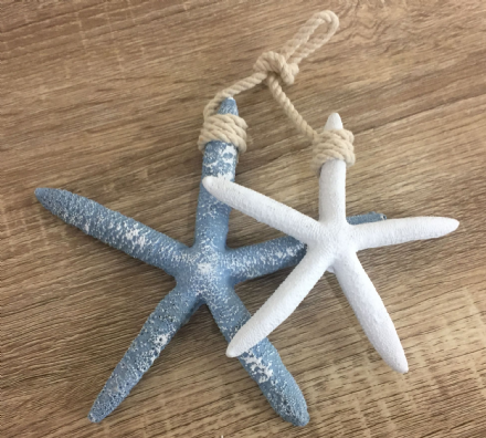 Hanging Starfish Blue & White Nautical Decoration